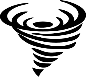 Drawn icon of a tornado